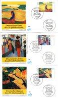 """BRD 3 Schmuck-FDC """"Deutsche Malerei Des 20.Jahrhunderts (I)"""" Mi. 1617/19 ESSt 11.6.1992 BERLIN 12 - [7] Federal Republic"""