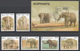 Elephant Elephants Animals Laos S/S+6 Stamps 1997 - Elephants