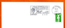 86 DARNEY   AUSTERLITZ   1991 Lettre Entière N° MN 454 - Marcophilie (Lettres)