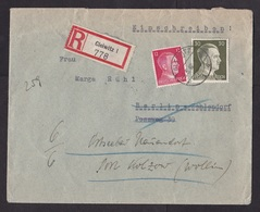 Germany: Registered Cover, 1942, 2 Stamps, Hitler, R-label Gleiwitz, Now Gliwice In Poland, Silesia (damaged) - Allemagne