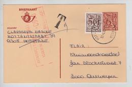REF325/ Entier CP 189 IV N C.Hofstade 12/8/82 Griffe T 9 > Antwerpen Taxé 9 Frs Par TTx Méc.Antwerpen 13/8/82 - Postage Due