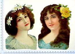 2 CHROMOS DECOUPIS  GRAND FORMAT  ..H : 17 Cm......BUSTE DE FEMME...CHEVELURE FLEURIE - Other