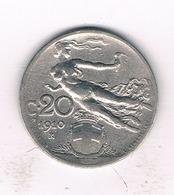 20 CENTESIMI  1910 R ITALIE /1243/ - 1861-1946 : Royaume