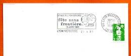 69 LYON PREFECTURE   FETE SANS FRONTIERE  1991 Lettre Entière N° MN 472 - Marcophilie (Lettres)