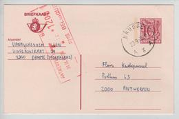 REF327/ Entier CP 193 IV N C.Brugge 23/9/85 écrit De Damme (Moermerke) > Antwerpen Taxé 12 Frs Par TTx Méc.Antwerpen - Lettres