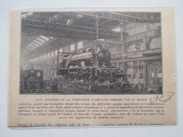 Révision De Locomotive - Compagnie D'Orléans    - Coupure De Presse De 1928 - Chemin De Fer