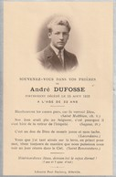 ANDRE DUFOSSE En 1932 - Esquela