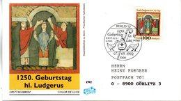 """BRD Schmuck-FDC """"1250.Geburtstag Der Hl. Ludgerus"""" Mi. 1610 ESSt 7.5.1992 BERLIN 12 - [7] Federal Republic"""
