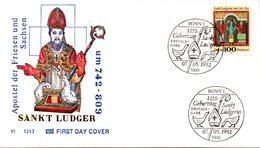 "BRD Schmuck-FDC ""1250.Geburtstag Der Hl. Ludgerus"" Mi. 1610 ESSt 7.5.1992 BONN 1 - [7] Federal Republic"