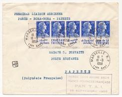 FRANCE - Env. Depuis Marseille RP 1968 - Affr. 5 X 20F Muller, Avec Bandes Pub. (de Carnet) + Liaison Aérienne Polynésie - Publicités