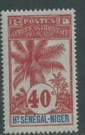 Haut-Sénégal N° 11 X  Type  Palmiers  : 40 C. Rouge Sur Azuré Trace De Charnière Sinon TB - Opper-Senegal En Niger (1904-1921)