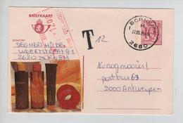 REF334/ Entier CP 193 IV N C.Bornem 22/5/85 Griffe T 121 > Antwerpen Taxé 12 Frs Par TTx Méc.Antwerpen 23/5/85 - Lettres