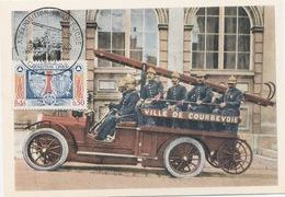 92 - Coubevoie : Premier Jour : Automobiles Des Sapeurs-Pompiers  Avant 1914 . - Courbevoie