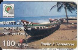TOGO - Beach, Togo Telecom Prepaid Card 100 Units, Used - Togo