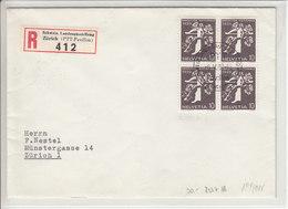 EXPO NATIONALE ZURICH 1939 - RECOMMANDE AVEC 233Z EN BLOC DE 4 /ET - - Svizzera