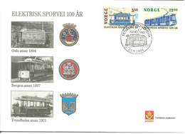 Norway 1994 Electric Tram 100 Years, Cancelled Trikken I Trondheim 23.9.94   FDC - Cartas