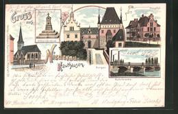 Lithographie Niederau-Krauthausen, Ruhrbrücke, Hospital, Kriegerdenkmal - Non Classificati