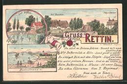 Lithographie Rettin, Hof Raaden Und Schulhaus, Gut Bradau - Allemagne