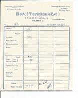 FACTURE    HOTEL TERMINUS EST  5 Rue De Strasbourg PARIS Xéme - Autres