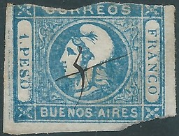 ARGENTINA Buenos Aires,1859 Liberty Head,1P Blue-Used - Buenos Aires (1858-1864)