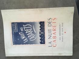 PARIS PROGRAMME LA NUIT DES CABARETS AUX AMBASSADEURS PARIS 25 JUIN 1948 - Programs
