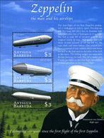 Antigua Barbuda Barboude 2000 Sheet 3 Stamp Zeppelin L'homme Et Ses Dirigeables Man And Airships LZ-1 LZ-3 - Zeppelines