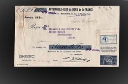 Timbres Fiscaux Fiscal Revenue Automobile Club Du Nord 2 Timbres Cotisation 1930 - Revenue Stamps