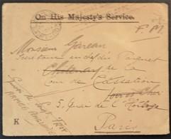 Enveloppe De Franchise Troupes Britanniques En France BEF Vers Chitenay Loir Et Cher Avril 1917 - Poststempel (Briefe)