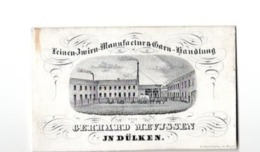 1 Porceleinkaart 1850 Dülken Manufaktur GARN Zwirn GERHARD MEVJSSEN  Litho SCHOT Schött In REIDT Viersel - Allemagne