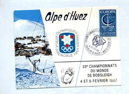 Carte  Cachet Alpe D'huez Championnat Monde Bobsleigh - Storia Postale