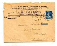 Lettre Chargée Cachet Convoyeur Tours à Orleans Entete Fabrique De Vinaigre - Marcophilie (Lettres)