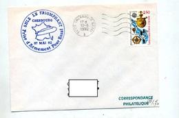 Lettre Flamme Muette Cherbourg Naval + Sous-marin Le Triomphant - Marcophilie (Lettres)