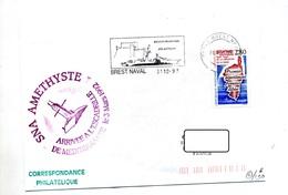 Lettre Flamme Brest Naval  Region Maritime + Sous-marin Amethyste - Marcophilie (Lettres)