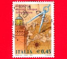 ITALIA - Usato - 2004 - Genova Capitale Europea Della Cultura - Lanterna Di Genova, Mappa E Compasso - 0,45 - 6. 1946-.. Republik