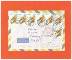 1996 BRASIL AIR MAIL COUVERT WITH 7 BIRD STAMPS STRIPE 6+1 TO SWISS - Brasile