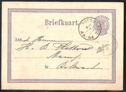 NEDERLAND Briefkaart G 7 Z-1 Met 2-letterstempel ROERMOND Naar Bolsward 1875 - Material Postal