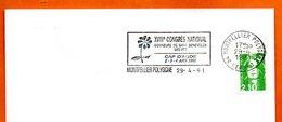 34 MONTPELLIER POLYGONE   DONNEURS DE SANG DES PTT 1991 Lettre Entière N° MN 480 - Marcophilie (Lettres)