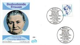 """BRD Schmuck-FDC Freimarken """"Frauen Der Deutschen Geschichte: Hedwig Courts-Mahler"""", Mi 1614 ESSt 11.6.92 BONN 1 - [7] Federal Republic"""