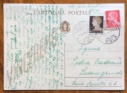 """CHERSO * POLA * 5/4/44 (REPUBBLICA SOCIALE) Su Cartolina Postale VINCEREMO """"RICOPERTA"""" 10+20 C. PER LUSSINGRANDE - - Storia Postale"""