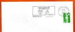 69 BRIGNAIS   ZONE D'ACCUEIL  1991 Lettre Entière N° MN 484 - Marcophilie (Lettres)