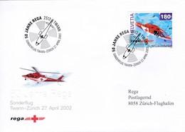 50 Jahre Rega, Sonderflug Twann - Zürich 27.April 2002 Mi: 1784 / Zu: 1040 Helikopter Agusta A-109-K2 - Premiers Vols