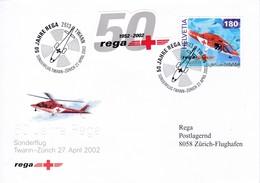 50 Jahre Rega, Sonderflug Twann - Zürich 27.April 2002 Mi: 1784 / Zu: 1040 Helikopter Agusta A-109-K2 - Airmail