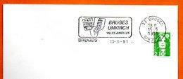 33 BRUGES  VILLES JUMELEES  1991 Lettre Entière N° MN 493 - Marcophilie (Lettres)