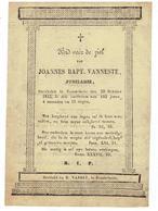Joannes Bapt. VANNESTE - Overleden Rousselaere 1842 - 102 Jaar 4 Maanden En 15 Dagen - Andachtsbilder