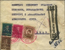 Romania 1944 - Censored Reg. Military Mail, Red Cachet Agentia PTT Com. Boldesti - Arad, Cenzurat Ploesti 28. - Rumänien