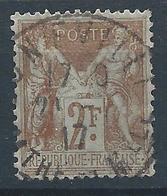 FRANCE - 1900 - Type Sage - YT N°105 - 2 F. Bistre Sur Azuré - Oblitéré - TB Etat - 1898-1900 Sage (Type III)