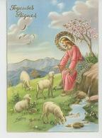"""PAQUES - Jolie Carte Fantaisie Avec Dorures Christ Et Moutons De """"Joyeuses Pâques """" Signée VENTURA - CECAMI 7292 - Pasqua"""