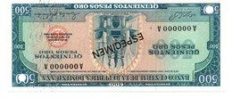 DOMINICAN REPUBLIC  ESPECIMEN 500 PESOS ORO ( 1976 ) - Dominicaine