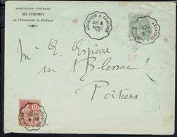 """1902 - Association Des Etudiants Université De Poitiers"""" Affr. N° 111 Et 116, Cachets Convoyeurs Arcachon A La Mothe. - Marcophilie (Lettres)"""