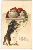 AN 1031,  OLD FANTASY POSTCARD , GREETINGS  , DOGS  , FINE ART , BONNE ANNEE - Chiens